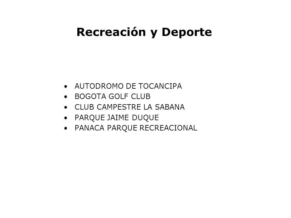 Recreación y Deporte AUTODROMO DE TOCANCIPA BOGOTA GOLF CLUB CLUB CAMPESTRE LA SABANA PARQUE JAIME DUQUE PANACA PARQUE RECREACIONAL