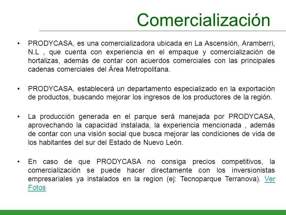 Comercialización PRODYCASA, es una comercializadora ubicada en La Ascensión, Aramberri, N.L, que cuenta con experiencia en el empaque y comercializaci
