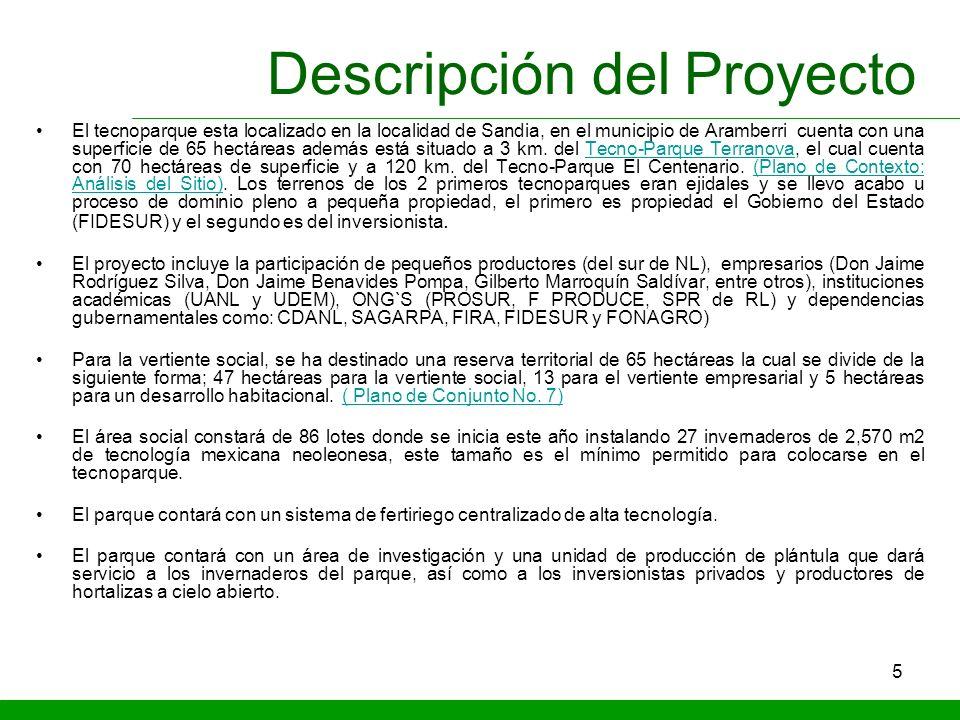 5 Descripción del Proyecto El tecnoparque esta localizado en la localidad de Sandia, en el municipio de Aramberri cuenta con una superficie de 65 hect