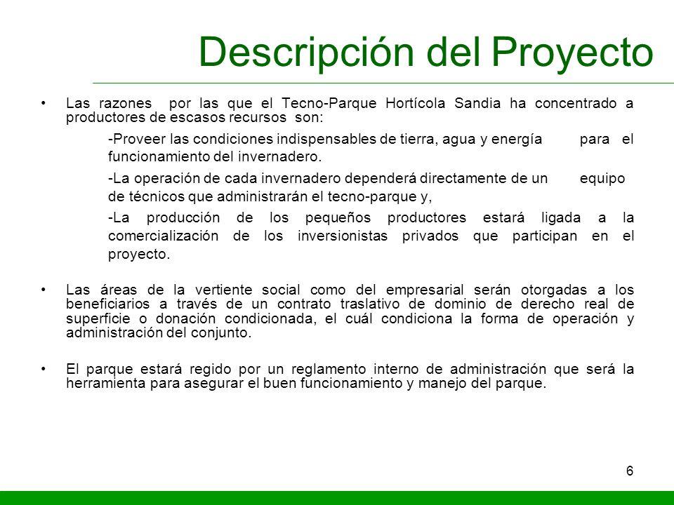 6 Descripción del Proyecto Las razones por las que el Tecno-Parque Hortícola Sandia ha concentrado a productores de escasos recursos son: -Proveer las