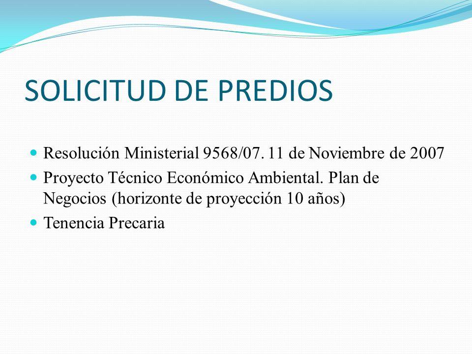 SOLICITUD DE PREDIOS Resolución Ministerial 9568/07. 11 de Noviembre de 2007 Proyecto Técnico Económico Ambiental. Plan de Negocios (horizonte de proy