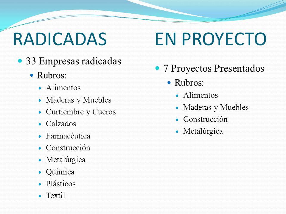 RADICADAS 33 Empresas radicadas Rubros: Alimentos Maderas y Muebles Curtiembre y Cueros Calzados Farmacéutica Construcción Metalúrgica Química Plástic