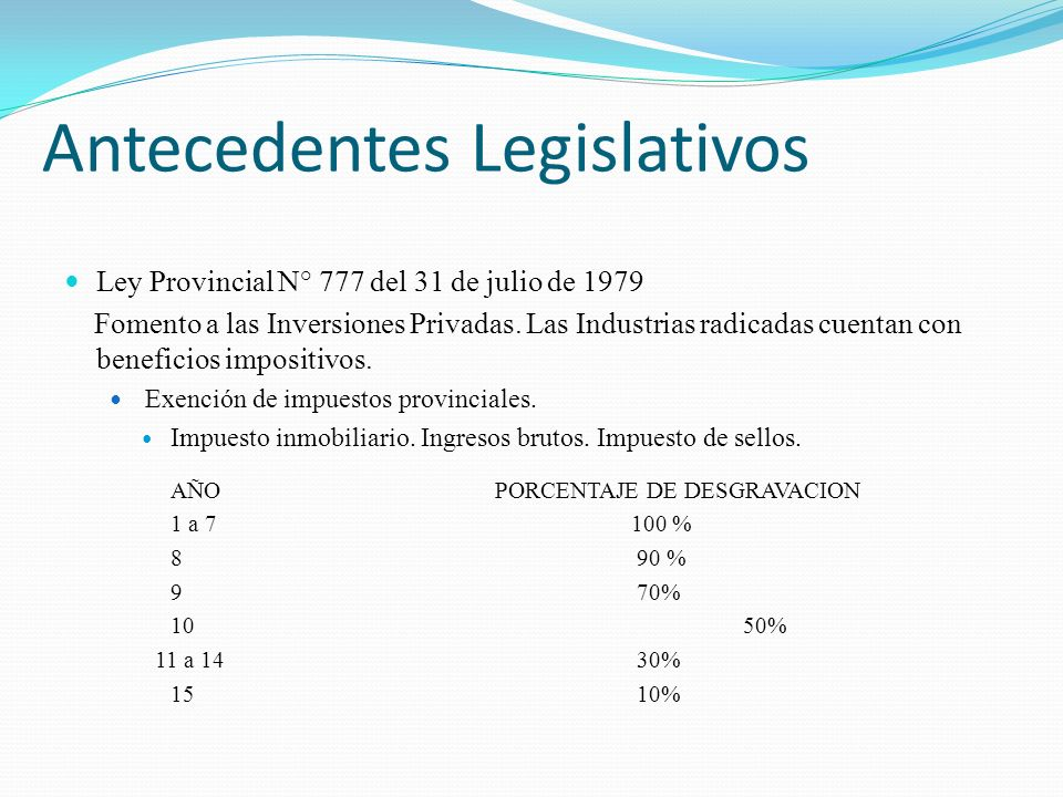 Ley Provincial N° 777 del 31 de julio de 1979 Fomento a las Inversiones Privadas. Las Industrias radicadas cuentan con beneficios impositivos. Exenció