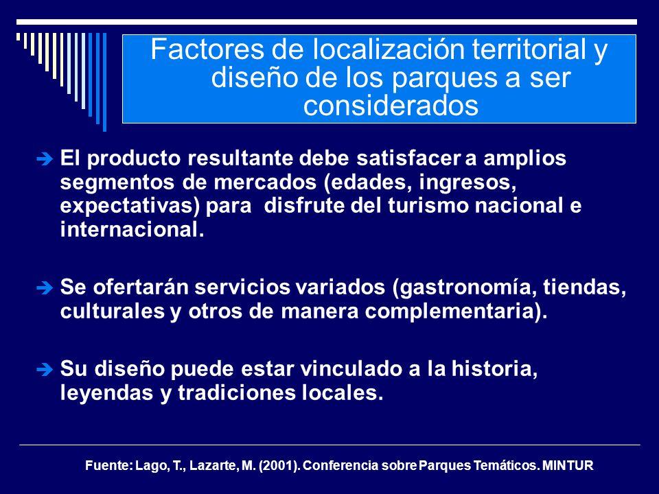 El producto resultante debe satisfacer a amplios segmentos de mercados (edades, ingresos, expectativas) para disfrute del turismo nacional e internaci