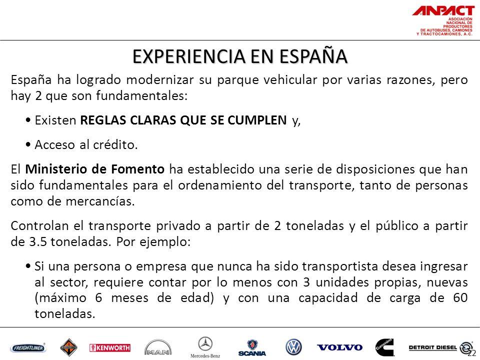 EXPERIENCIA EN ESPAÑA 22 España ha logrado modernizar su parque vehicular por varias razones, pero hay 2 que son fundamentales: Existen REGLAS CLARAS QUE SE CUMPLEN y, Acceso al crédito.