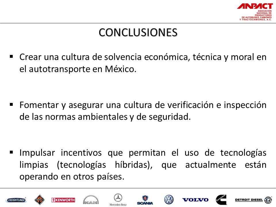 CONCLUSIONES Crear una cultura de solvencia económica, técnica y moral en el autotransporte en México.