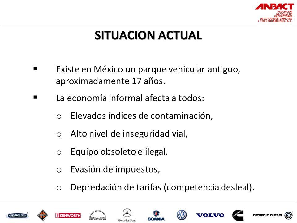 SITUACION ACTUAL Existe en México un parque vehicular antiguo, aproximadamente 17 años.