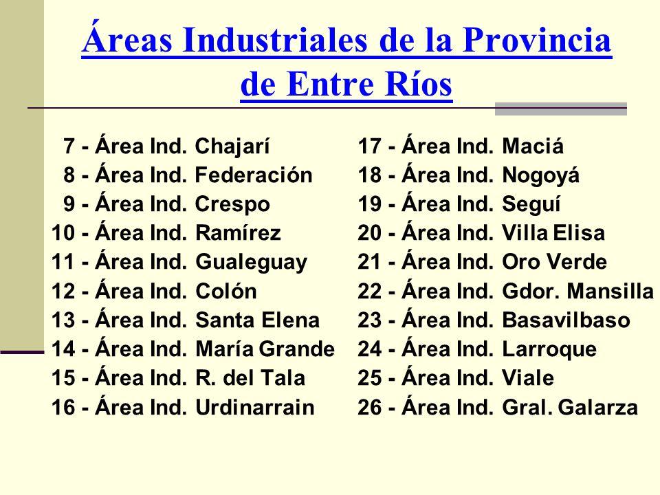 Áreas Industriales de la Provincia de Entre Ríos 7 - Área Ind. Chajarí 8 - Área Ind. Federación 9 - Área Ind. Crespo 10 - Área Ind. Ramírez 11 - Área