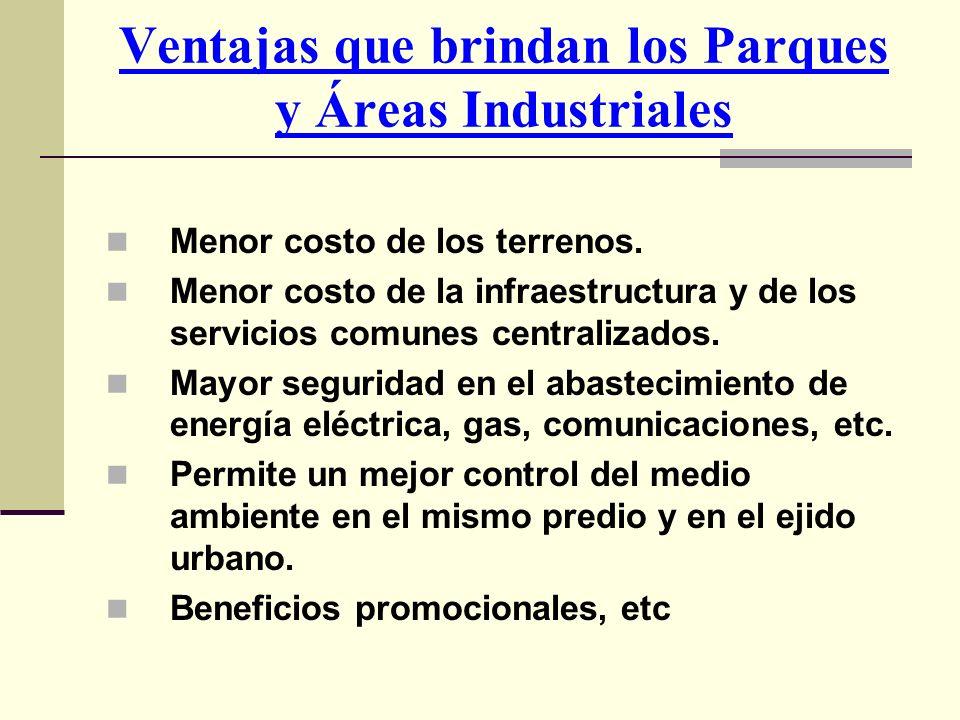 Ventajas que brindan los Parques y Áreas Industriales Menor costo de los terrenos. Menor costo de la infraestructura y de los servicios comunes centra