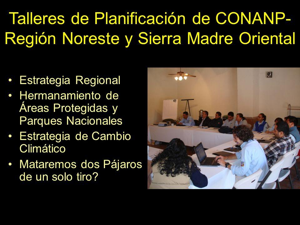 Talleres de Planificación de CONANP- Región Noreste y Sierra Madre Oriental Estrategia Regional Hermanamiento de Áreas Protegidas y Parques Nacionales