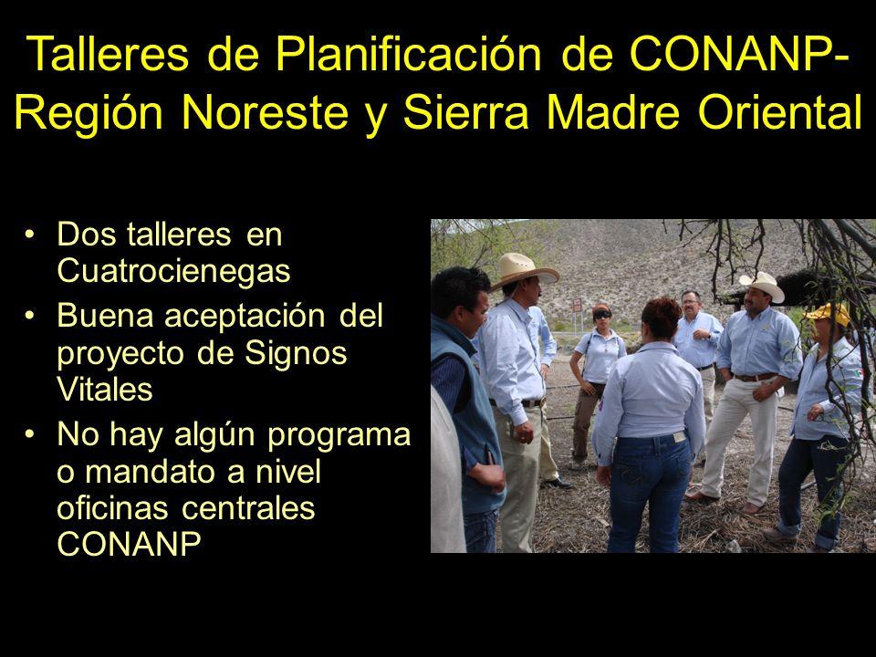 Talleres de Planificación de CONANP- Región Noreste y Sierra Madre Oriental Dos talleres en Cuatrocienegas Buena aceptación del proyecto de Signos Vit