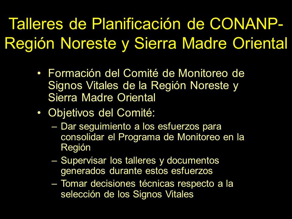 Talleres de Planificación de CONANP- Región Noreste y Sierra Madre Oriental Formación del Comité de Monitoreo de Signos Vitales de la Región Noreste y