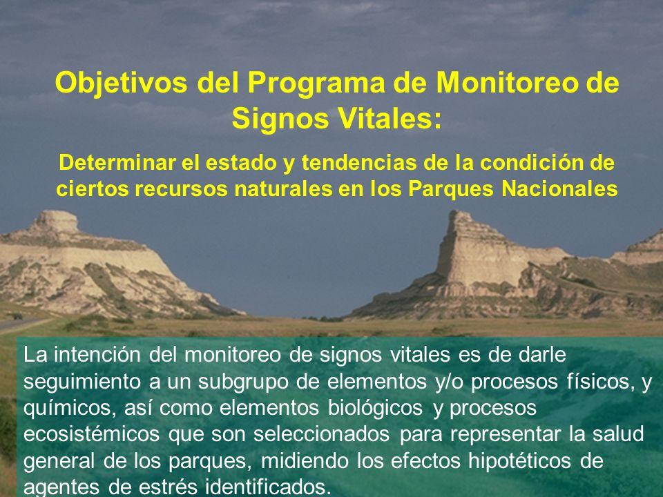 Objetivos del Programa de Monitoreo de Signos Vitales: Determinar el estado y tendencias de la condición de ciertos recursos naturales en los Parques