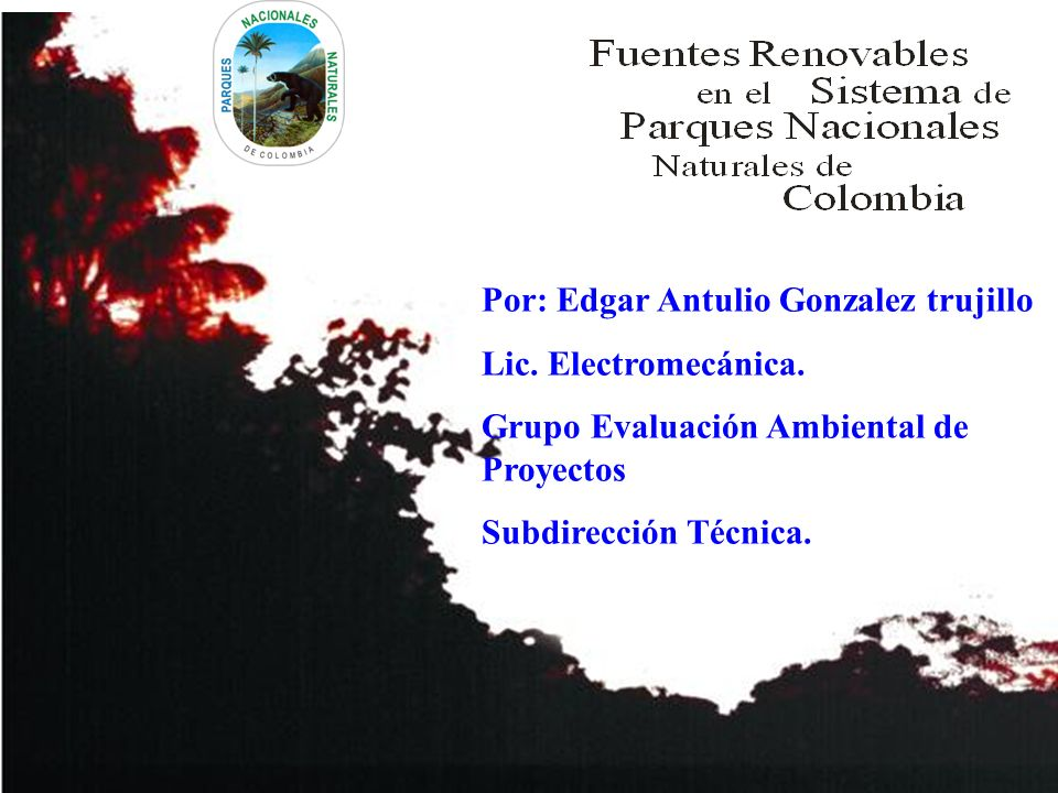 Por: Edgar Antulio Gonzalez trujillo Lic. Electromecánica. Grupo Evaluación Ambiental de Proyectos Subdirección Técnica.