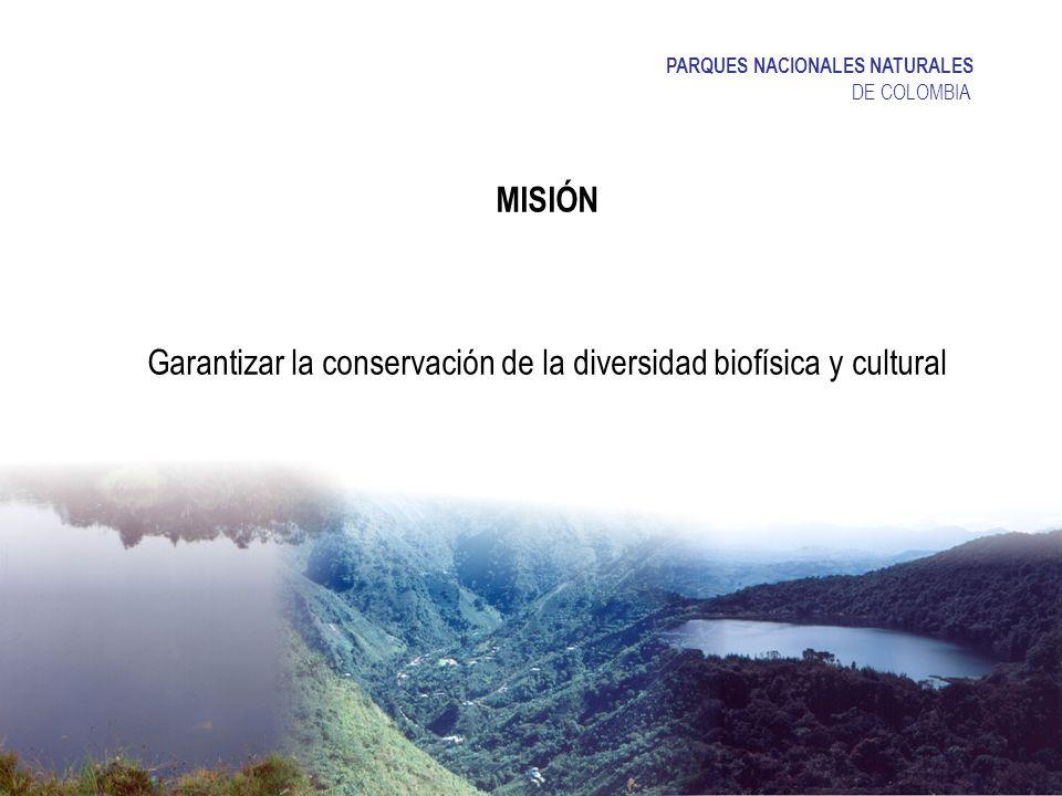 VISION Preservar y conservar: Recursos Naturales Valores de Fauna y Flora Paisajes Reliquias históricas, culturales o arqueológicas, existentes en las áreas protegidas PARQUES NACIONALES NATURALES DE COLOMBIA