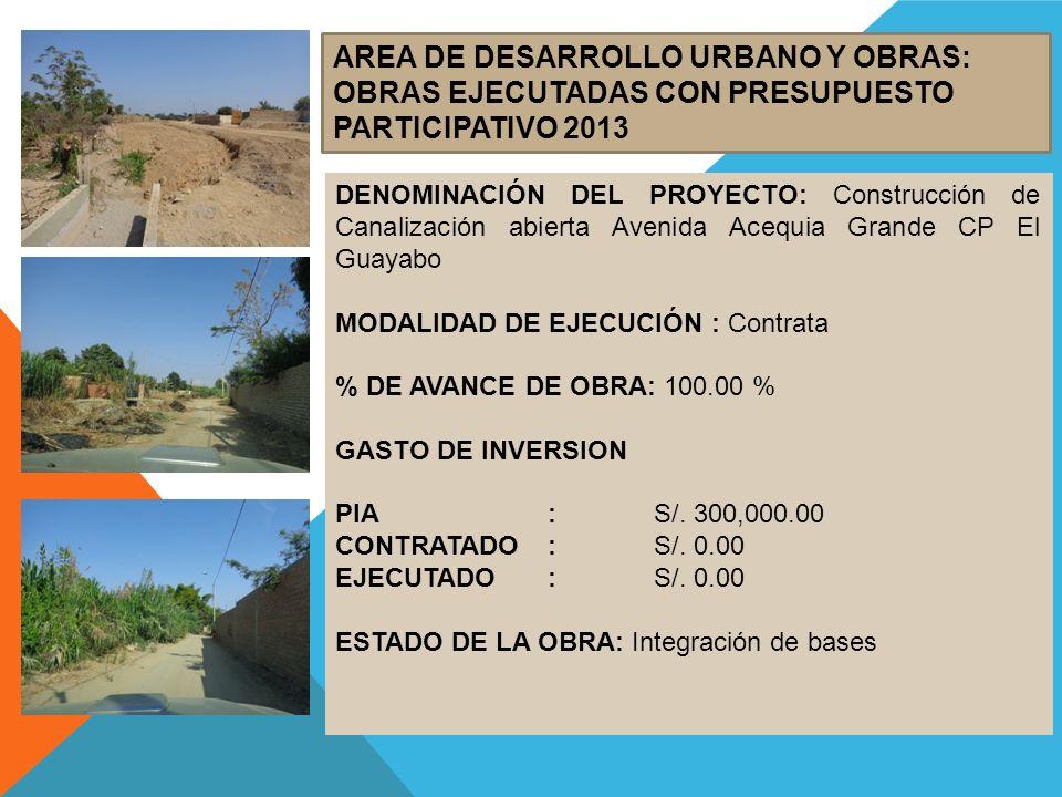 AREA DE DESARROLLO URBANO Y OBRAS: OBRAS EJECUTADAS CON PRESUPUESTO PARTICIPATIVO 2013 DENOMINACIÓN DEL PROYECTO: Construcción de Canalización abierta