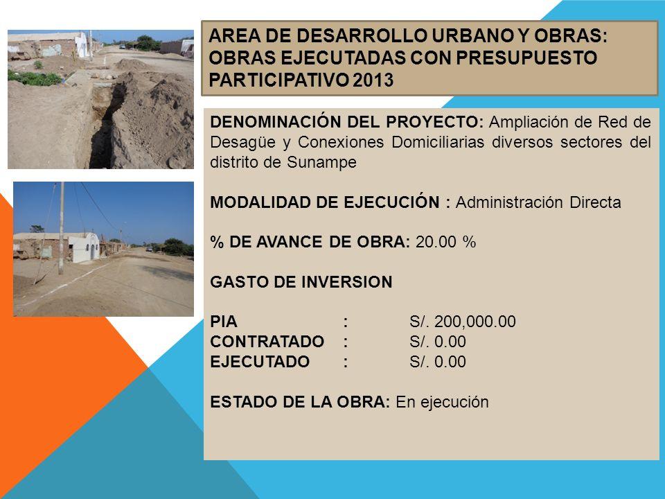 AREA DE DESARROLLO URBANO Y OBRAS: OBRAS EJECUTADAS CON PRESUPUESTO PARTICIPATIVO 2013 DENOMINACIÓN DEL PROYECTO: Ampliación de Red de Desagüe y Conex