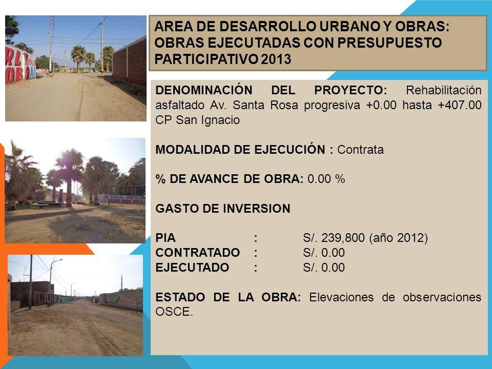 AREA DE DESARROLLO URBANO Y OBRAS: OBRAS EJECUTADAS CON PRESUPUESTO PARTICIPATIVO 2013 DENOMINACIÓN DEL PROYECTO: Rehabilitación asfaltado Av. Santa R