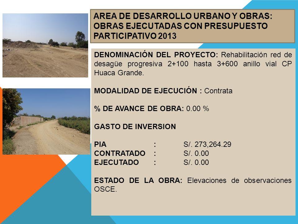 AREA DE DESARROLLO URBANO Y OBRAS: OBRAS EJECUTADAS CON PRESUPUESTO PARTICIPATIVO 2013 DENOMINACIÓN DEL PROYECTO: Rehabilitación red de desagüe progre