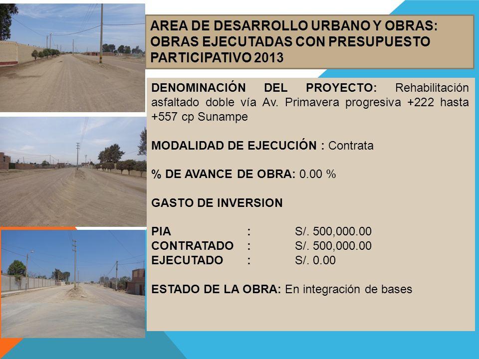 AREA DE DESARROLLO URBANO Y OBRAS: OBRAS EJECUTADAS CON PRESUPUESTO PARTICIPATIVO 2013 DENOMINACIÓN DEL PROYECTO: Rehabilitación asfaltado doble vía A