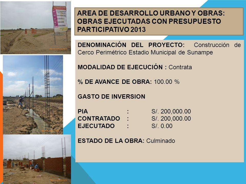 AREA DE DESARROLLO URBANO Y OBRAS: OBRAS EJECUTADAS CON PRESUPUESTO PARTICIPATIVO 2013 DENOMINACIÓN DEL PROYECTO: Construcción de Cerco Perimétrico Es