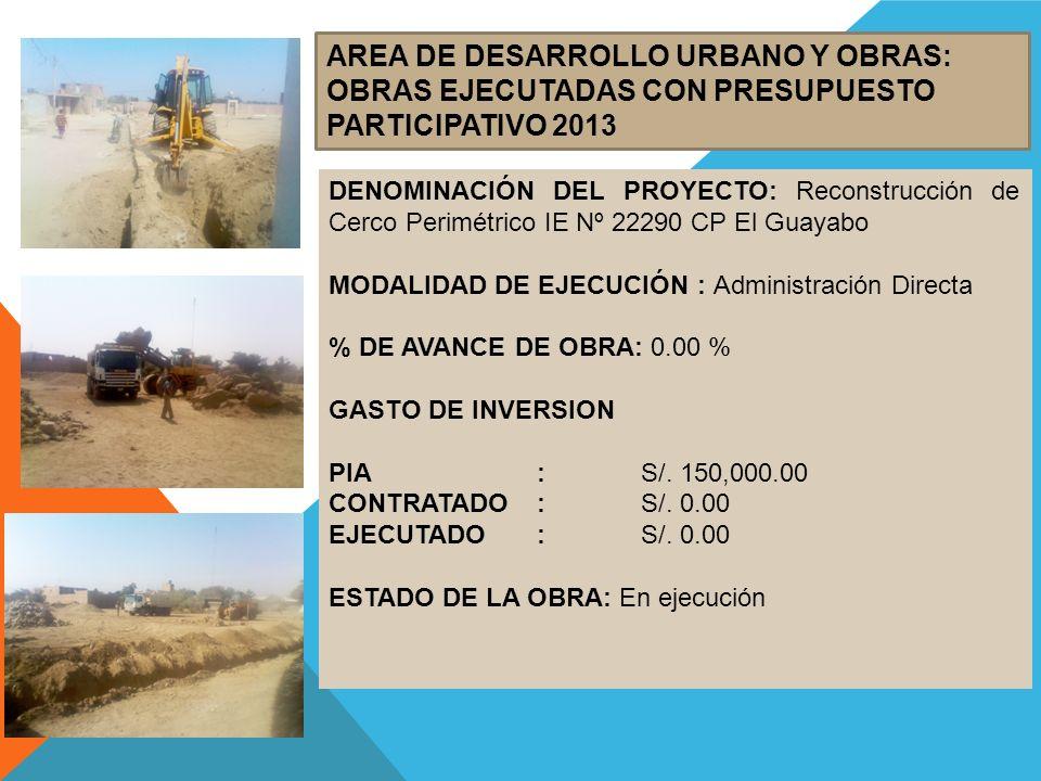 AREA DE DESARROLLO URBANO Y OBRAS: OBRAS EJECUTADAS CON PRESUPUESTO PARTICIPATIVO 2013 DENOMINACIÓN DEL PROYECTO: Reconstrucción de Cerco Perimétrico IE Nº 22290 CP El Guayabo MODALIDAD DE EJECUCIÓN : Administración Directa % DE AVANCE DE OBRA: 0.00 % GASTO DE INVERSION PIA:S/.