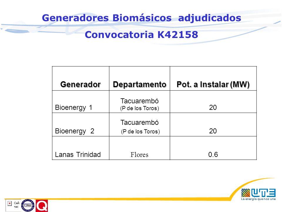 Generadores Biomásicos adjudicados Convocatoria K42158GeneradorDepartamento Pot.