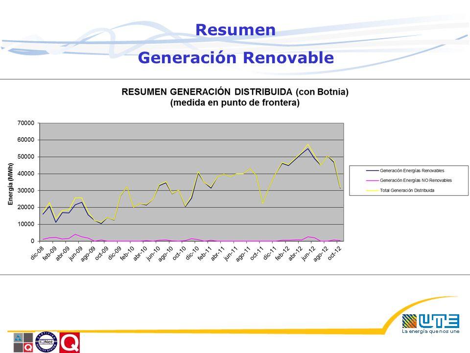 Resumen Generación Renovable Situaci ó n N° Generadores Potencia (MW) Conectados9232.7 Adjudicados240.6 Sub total Biom á sicos11273,3