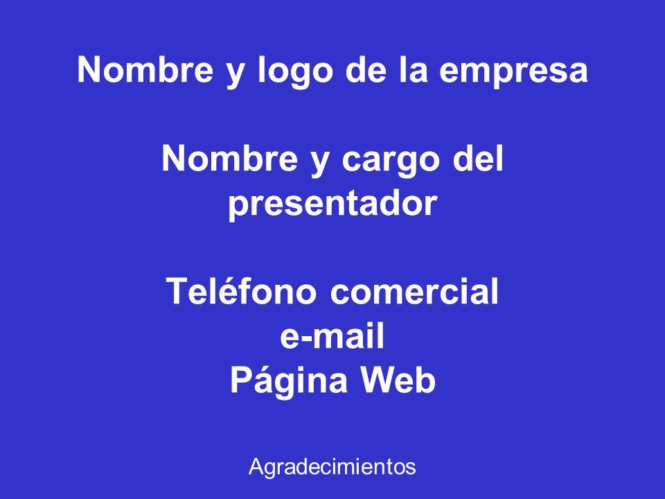 Nombre y logo de la empresa Nombre y cargo del presentador Teléfono comercial e-mail Página Web Agradecimientos