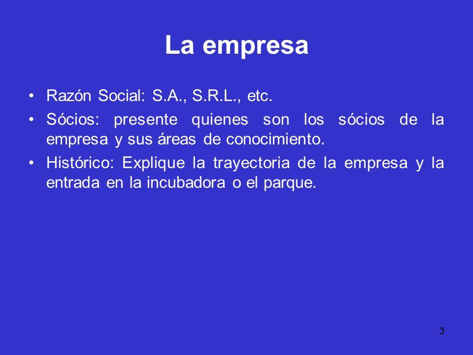 3 La empresa Razón Social: S.A., S.R.L., etc. Sócios: presente quienes son los sócios de la empresa y sus áreas de conocimiento. Histórico: Explique l