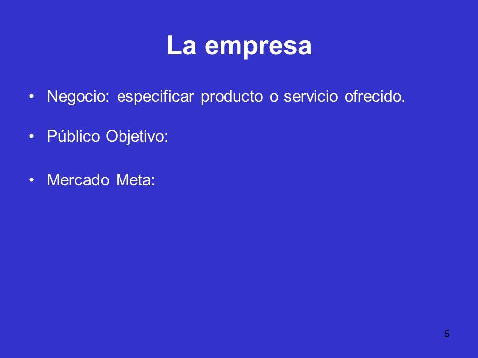 5 La empresa Negocio: especificar producto o servicio ofrecido. Público Objetivo: Mercado Meta: