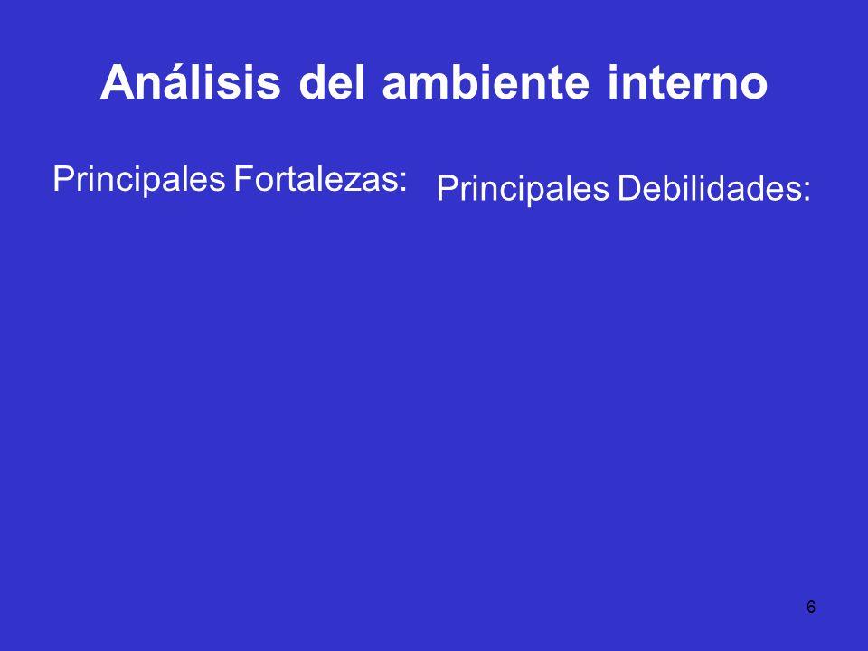 6 Análisis del ambiente interno Principales Fortalezas: Principales Debilidades: