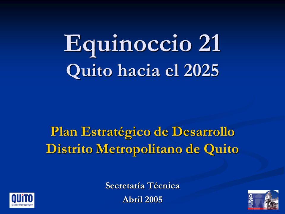Equinoccio 21 Quito hacia el 2025 Plan Estratégico de Desarrollo Distrito Metropolitano de Quito Secretaría Técnica Abril 2005