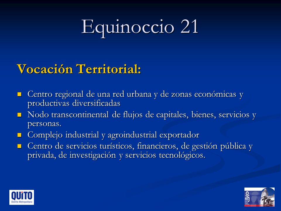 Equinoccio 21 Vocación Territorial: Centro regional de una red urbana y de zonas económicas y productivas diversificadas Centro regional de una red urbana y de zonas económicas y productivas diversificadas Nodo transcontinental de flujos de capitales, bienes, servicios y personas.