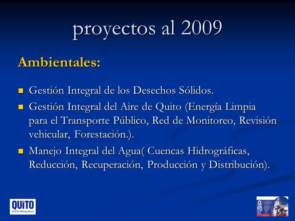 proyectos al 2009 Ambientales: Gestión Integral de los Desechos Sólidos.