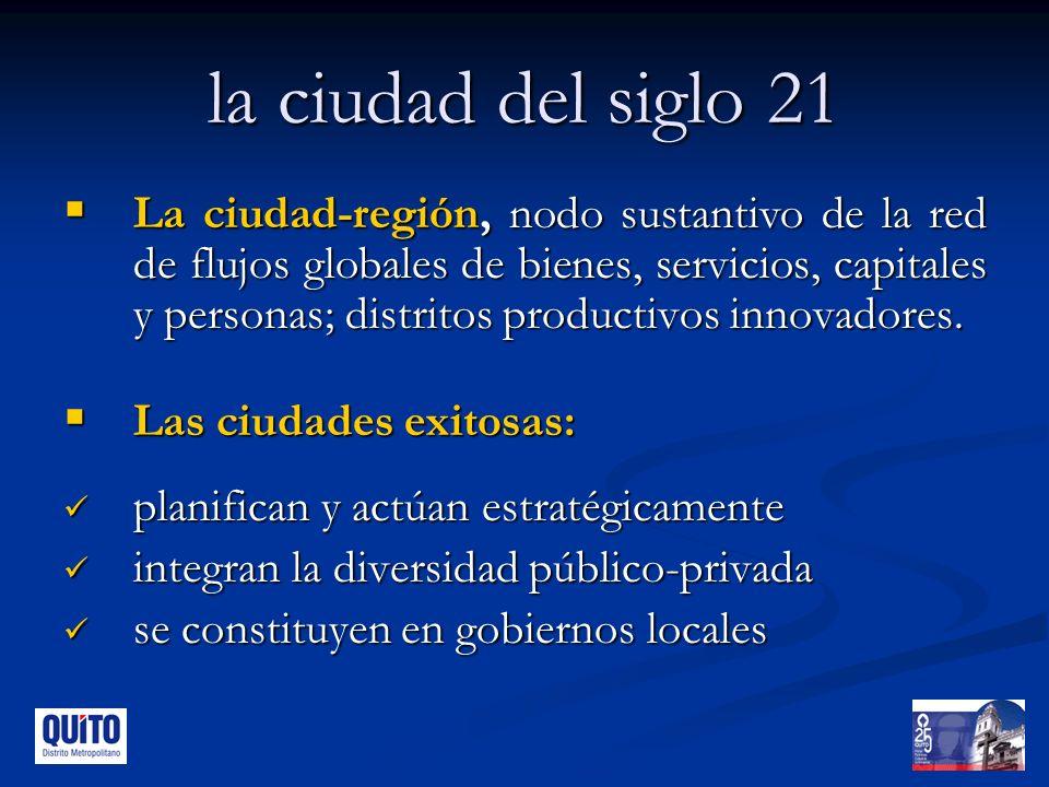 la ciudad del siglo 21 La ciudad-región, nodo sustantivo de la red de flujos globales de bienes, servicios, capitales y personas; distritos productivos innovadores.