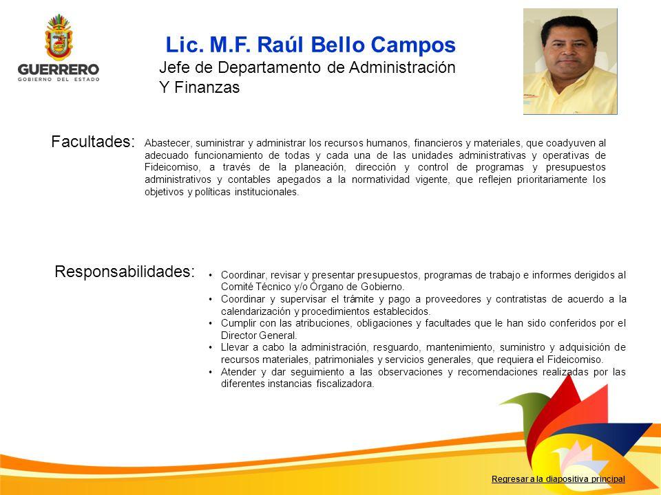 Facultades: Responsabilidades: Regresar a la diapositiva principal Coordinar, revisar y presentar presupuestos, programas de trabajo e informes derigi