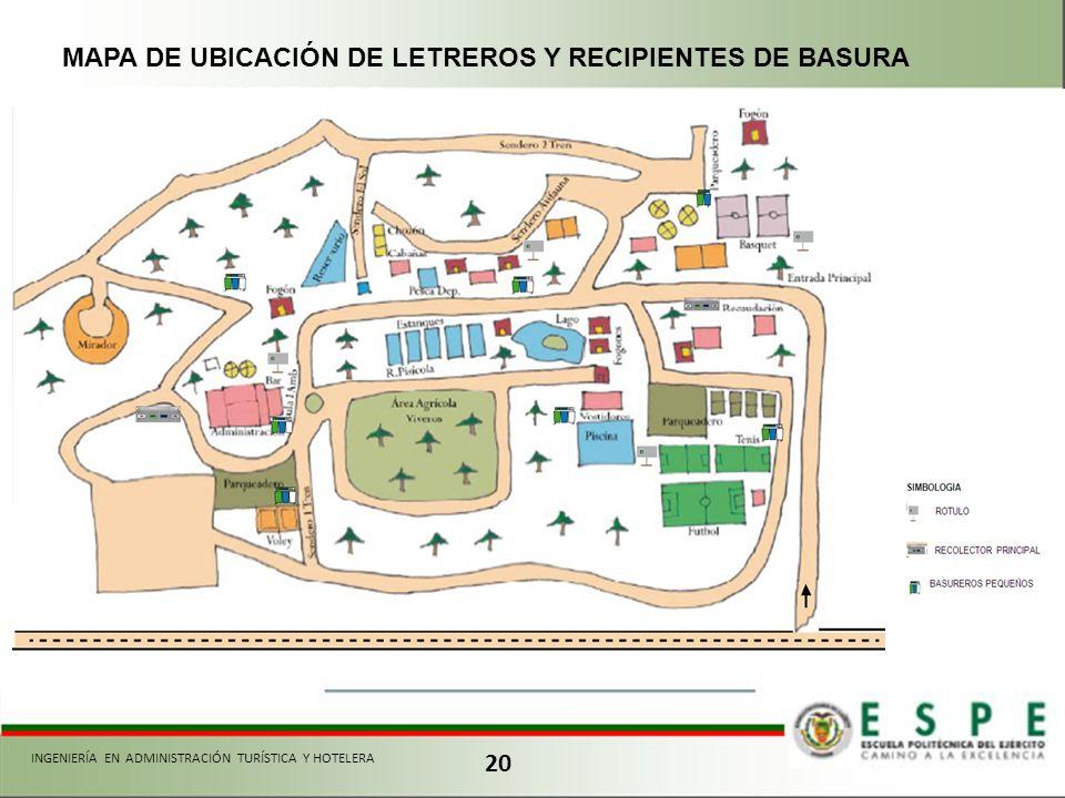 20 MAPA DE UBICACIÓN DE LETREROS Y RECIPIENTES DE BASURA INGENIERÍA EN ADMINISTRACIÓN TURÍSTICA Y HOTELERA