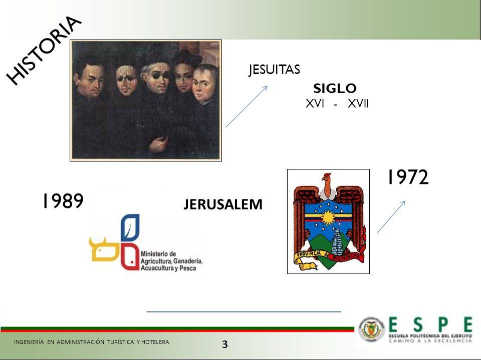 3 JESUITAS HISTORIA 1972 SIGLO XVl - XVll 1989 JERUSALEM INGENIERÍA EN ADMINISTRACIÓN TURÍSTICA Y HOTELERA