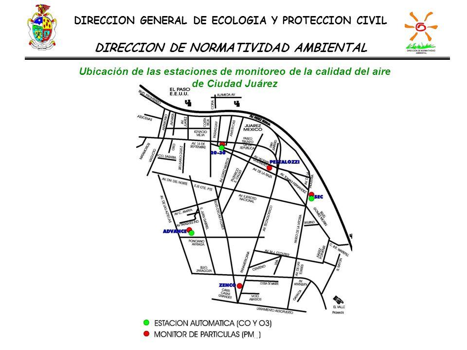 DIRECCION GENERAL DE ECOLOGIA Y PROTECCION CIVIL DIRECCION DE NORMATIVIDAD AMBIENTAL Ubicación de las estaciones de monitoreo de la calidad del aire d
