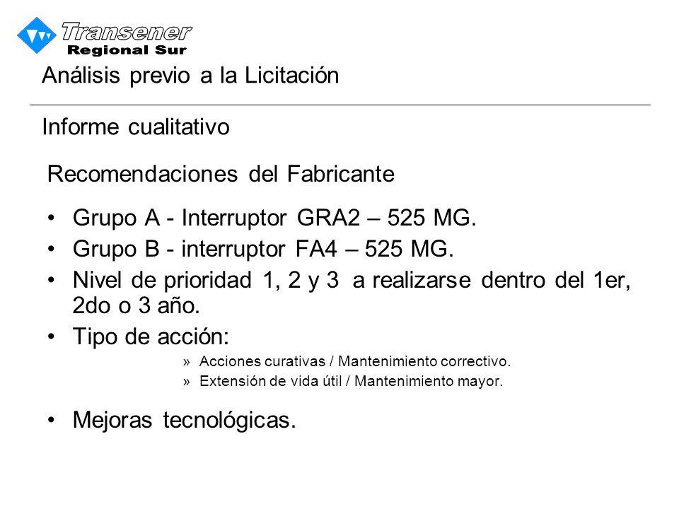 Informe cualitativo Recomendaciones del Fabricante Grupo A - Interruptor GRA2 – 525 MG.