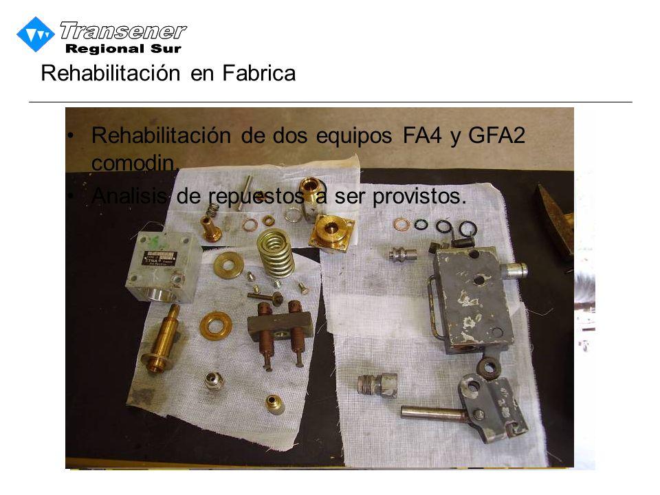 Rehabilitación de dos equipos FA4 y GFA2 comodin.Analisis de repuestos a ser provistos.