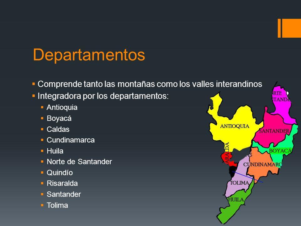 Departamentos Comprende tanto las montañas como los valles interandinos Integradora por los departamentos: Antioquia Boyacá Caldas Cundinamarca Huila Norte de Santander Quindío Risaralda Santander Tolima