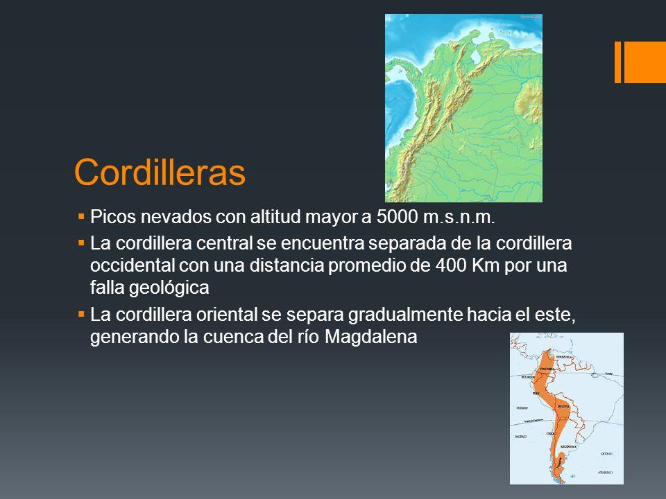 Cordilleras Picos nevados con altitud mayor a 5000 m.s.n.m. La cordillera central se encuentra separada de la cordillera occidental con una distancia