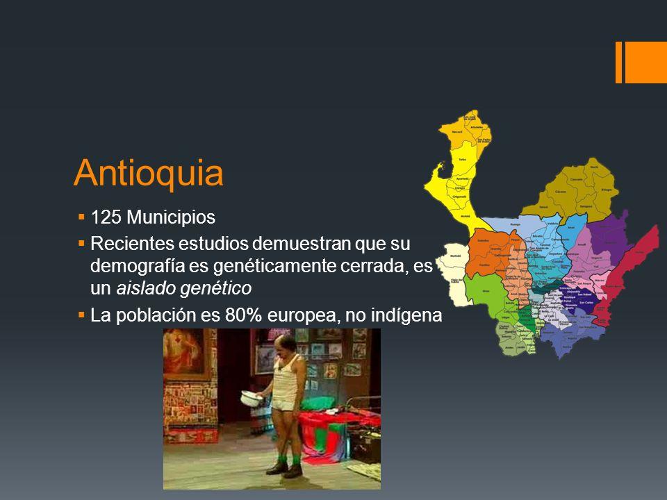 Antioquia 125 Municipios Recientes estudios demuestran que su demografía es genéticamente cerrada, es un aislado genético La población es 80% europea, no indígena
