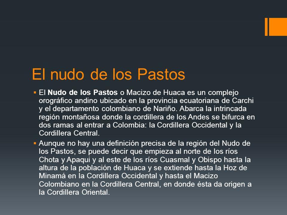 El nudo de los Pastos El Nudo de los Pastos o Macizo de Huaca es un complejo orográfico andino ubicado en la provincia ecuatoriana de Carchi y el depa