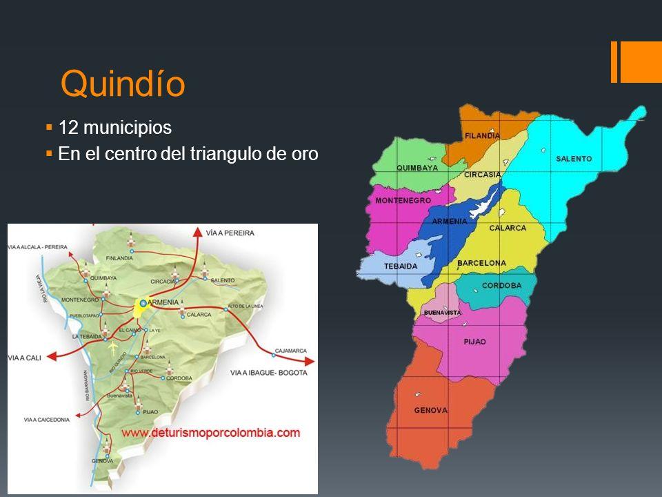 Quindío 12 municipios En el centro del triangulo de oro