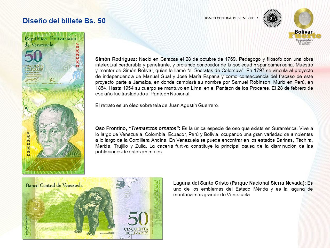 Diseño del billete Bs.