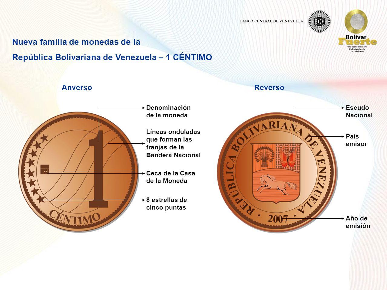 Nueva familia de monedas de la República Bolivariana de Venezuela – 1 CÉNTIMO AnversoReverso Denominación de la moneda Líneas onduladas que forman las