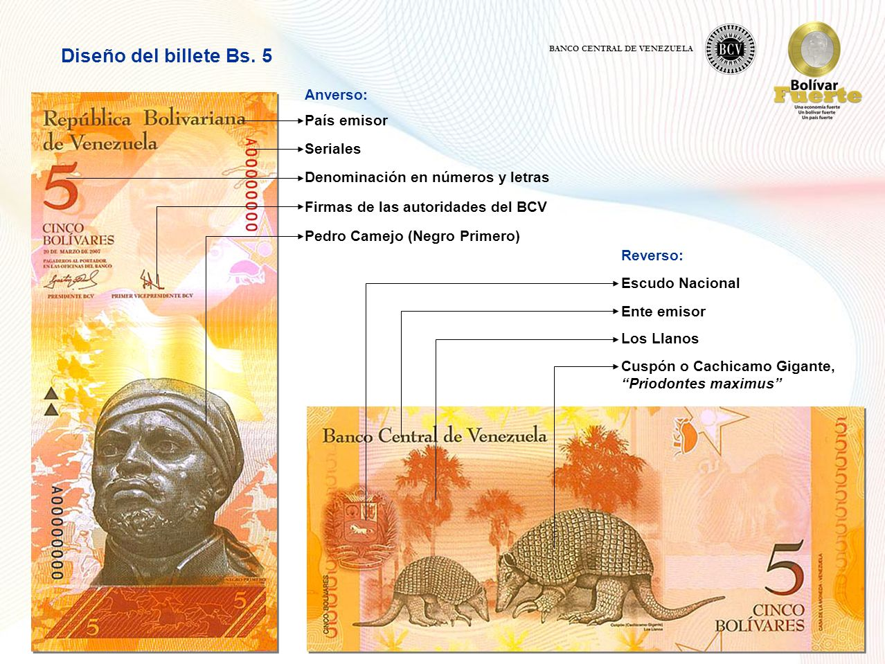 Anverso: Diseño del billete Bs.